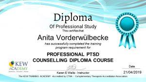 Fortbildung - PTSD Counselling Diplom - Assistenzhundezentrum Sauerland